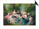 Portrait of Empress Eugenie Surrounded by Her Maids of Honor, 1855 Poster by Franz Xavier Winterhalter