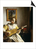 The Guitar Player, circa 1672 Print by Jan Vermeer
