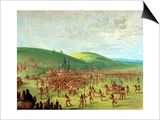 Indian Ball Game Poster by George Catlin