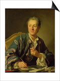 Portrait of Denis Diderot (1713-84) 1767 Prints by Louis-Michel van Loo