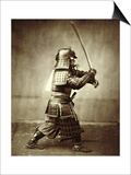 Samurai with Raised Sword, circa 1860 Prints by Felice Beato