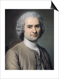 Portrait of Jean Jacques Rousseau (1712-78) Prints by Maurice Quentin de La Tour