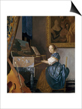 A Young Lady Seated at a Virginal, circa 1670 Art by Jan Vermeer
