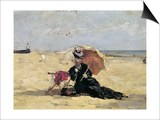 Woman with a Parasol on the Beach, 1880 Posters by Eugène Boudin