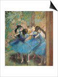 Dancers in Blue, c.1895 Poster by Edgar Degas