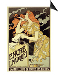 "Reproduction of a Poster Advertising ""Marquet Ink,"" 1892 Posters by Eugene Grasset"