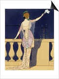 Farewell at Night, Design for an Evening Dress by Paquin Print by Georges Barbier