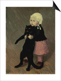 A Small Girl with a Cat, 1889 Art by Théophile Alexandre Steinlen