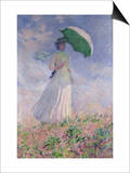 Woman with a Parasol Turned to the Right, 1886 Prints by Claude Monet