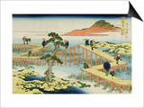 Eight Part Bridge, Province of Mucawa, Japan, circa 1830 Posters by Katsushika Hokusai