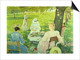 Family in the Orchard, 1890 Print by Théo van Rysselberghe