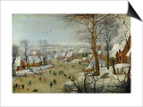 Winter Landscape with Skaters and a Bird Trap Affiche par Pieter Brueghel the Younger
