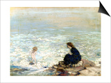 Mother and Child at the Water's Edge Posters by George William Russell