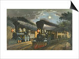 The Lightning Express Trains, 1863 Posters by  Currier & Ives