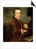 Portrait of Wolfgang Amadeus Mozart (1756-91) Aged Eight, Holding a Bird's Nest, 1764-65 Posters by Johann Zoffany
