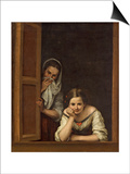 Women from Galicia at the Window, 1670 Prints by Bartolome Esteban Murillo