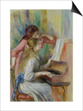 Young Girls at the Piano, circa 1890 Art by Pierre-Auguste Renoir