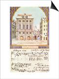 The Leipzig Gewandhaus with a Piece of Music by Felix Mendelssohn (1809-47) Prints