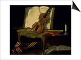 Still Life with a Violin Posters by Jean-Baptiste Oudry