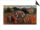 Copy of the Adoration of the Mystic Lamb, from the Ghent Altarpiece, Lower Half of Central Panel Print by Hubert & Jan Van Eyck