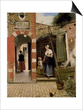 Courtyard of a House in Delft, 1658 Print by Pieter de Hooch