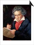 """Ludwig Van Beethoven (1770-1827) Composing His """"Missa Solemnis"""" Print by Joseph Karl Stieler"""