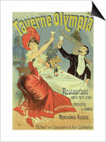 "Reproduction of a Poster Advertising the ""Taverne Olympia,"" Paris, 1899 Posters by Jules Chéret"