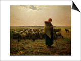 Shepherdess with Her Flock, 1863 Prints by Jean-François Millet