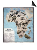 Map of Animals in Africa Sf Art by Janos Balint