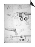 Original Plans for a Ten-chamber Revolver which Later Became the Six-chamber Patented in 1836 Print by Samuel Colt