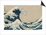"Den store bølgen ved Kanagawa, fra serien ""36 visninger av berget Fuji Fuji, Fugaku Sanjuokkei Plakat av Katsushika Hokusai"