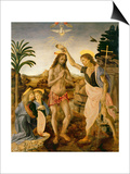 The Baptism of Christ by John the Baptist, C.1475 Posters by  Verrocchio