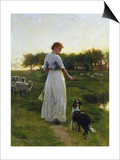A Shepherdess with Her Dog and Flock in a Moonlit Meadow Art by George Faulkner Wetherbee