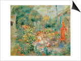 Young Girls in the Garden at Montmartre, 1893-95 Prints by Pierre-Auguste Renoir