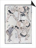 Studies of Gestures and Postures of Wrestlers, from a Manga (Colour Woodblock Print) Print by Katsushika Hokusai