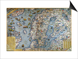 Scandinavia, Detail from the Carta Marina Da Olaus Magnus, 1572 Art by Antonio Lafreri