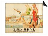 Poster Advertising Sunny Rhyl (Colour Litho) Prints by Septimus Edwin Scott