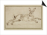 A Hare Running, with Ears Pricked (Pen and Ink on Paper) Poster by James Seymour