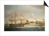 A Country Ship on the Hoogly Near Calcutta Print by Thomas Whitcombe