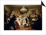 A Schubert Evening in a Vienna Salon Prints by Julius Schmid