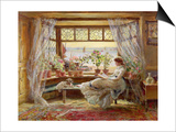 Reading by the Window, Hastings Posters by Charles James Lewis
