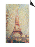 The Eiffel Tower, 1889 (Panel) Art by Georges Seurat