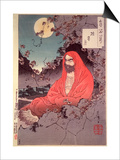 Meditation by Moonlight, (Colour Woodblock Print) Plakat autor Tsukioka Kinzaburo Yoshitoshi