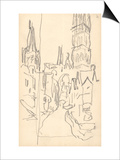 Rouen Cathedral, the Calende Portal and the Central Tower (Pencil on Paper) Art by Claude Monet