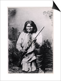 Geronimo Holding a Rifle, 1884 Affiches