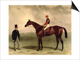 Gladiateur with Harry Grimshaw Up and His Owner, Count Frederic De Lagrange, 1865 Print by Harry Hall