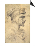 Ideal Head of a Warrior Art by  Michelangelo Buonarroti
