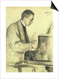 Portrait of Sergei Vasilievich Rachmaninov at the Piano, 1916 Print by Leonid Osipovic Pasternak