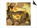 Two Cats Art by Franz Marc