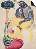 The God Krishna with His Mortal Love, Radha Posters